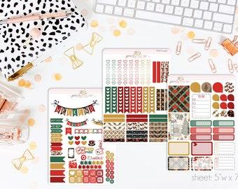 Joyeux Noël VERTICAL Weekly Kit // 140+ Matte Planner Stickers // Perfect for your Erin Condren Life Planner // WKV0440