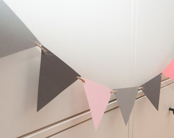 Pink, Coral and Grey Bunting by Joyce Molly Designs