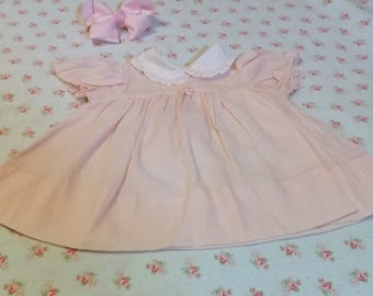 Vintage Baby Dress, Pink Dotted Swiss Dress, Size 12M Baby Dress, Lace Trimmed Dress, Short Sleeve Dress,Cute for Dolls too