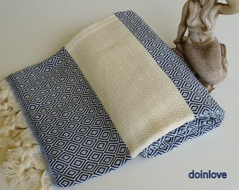 Turkish peshtemal navy blue colour soft cotton bath towel, beach towel, spa towel, sauna towel.
