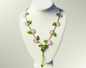 Crochet Lariat Vine Necklace Oya Jewelry Hand Dyed Painted Pink Flowers Green Leaves Handmade Cotton Fiber Arts Ready to Ship