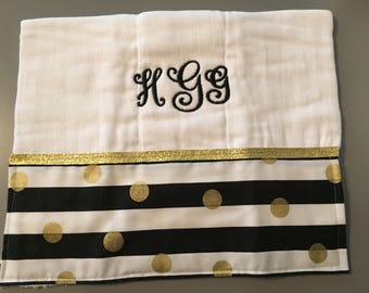 Personalized burp cloth- set of 2 pink and black