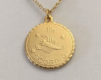 "Zodiac pendant necklace, 3/4"" gold overlay pendant, zodiac layering necklace"