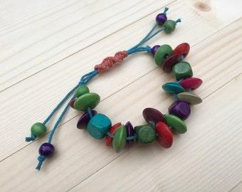 Women's Beaded Bracelet Wooden Beads Bracelet Macrame Bracelet Friendship Beaded Bracelet Colourful Jewellery Gift For Her