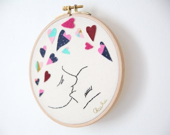 """Modern embroidery wall """"The Kiss"""""""