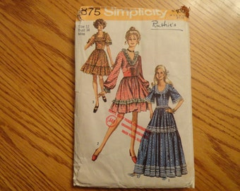 Simplicity Vintage 1970 Peasant Dress Regular length and Maxi Sewing Pattern Size 12 Bust 34