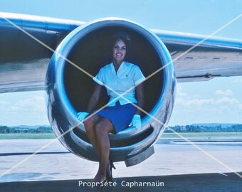 "Photography of the 60's - print ""postcard"" - air hostess"