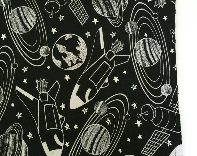 Black and white glow in the dark space themed receiving blanket