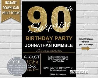 90th Surprise Birthday Invitation | 90th Birthday Invite, Surprise 90th, 90th Birthday for men, Gold and Black Invite,Elegant 90th Birthday