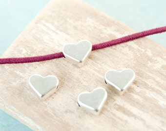 10x Metal bead Heart 6, 5mm cross-drilled antique silver #3952