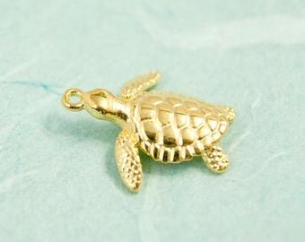 1x turtle charm gold pl. 20mm #4000