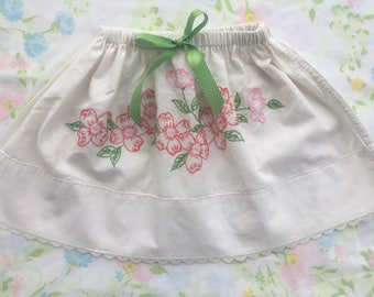 50% OFF SPRING SALE! Handmade skirt from vintage linens. Size 2T