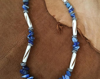 Handmade Mens Genuine Blue Lapis Lazuli Stone Carved Bovine Bone Native American Inspired Beaded Necklace Jewelry