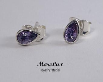 Pear Cut Amethyst Earrings, Silver Stud Synthetic Amethyst Teardrop Earrings, Amethyst Stud Earrings, Stud Earrings Little Violet Earrings