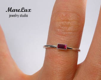 Baguette Cut Ruby Silver Ring, July Gemstone Birthstone Ring, Synthetic Pink Ruby Ring, Stacking Sterling Silver Tiny Baguette Ruby Ring