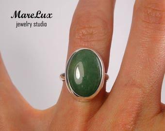 Genuine Green Aventurine Sterling Silver Ring, Aventurine Gold or Gold Plated Ring, Aventurine Ring, Green Aventurine Ring, Green Stone Ring
