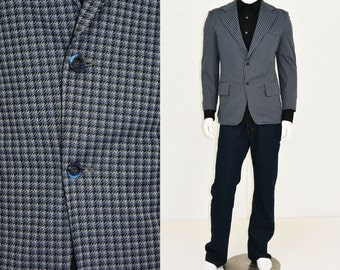 1970s Vintage Men's 40S Sears Slate Blue Houndstooth Two Button Slim Blazer Disco Knit