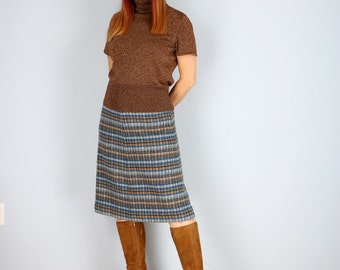 1960s Skirt - Vintage Plaid A-Line Midi Skirt - Blue Brown Black - Jaeger - Office Appropriate - Fall Winter - XS/S Waist 25""