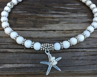 Beach Anklet, Ankle Bracelet, Starfish Anklet, White Anklet, Beaded Anklet, Ankle Jewelry, Beach Bride Anklet, Beach Jewelry