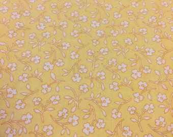 Calico Fabric. FQ. Yellow Floral Fabric. Cranston Fabric. Yellow Quilting Fabric. Calico Fabric Yellow. Rose Fabric