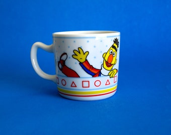 Bert & Ernie Sesame Street Mug - Vintage Retro Children's Shapes Learning Porcelain Mug Cup - Made in Japan