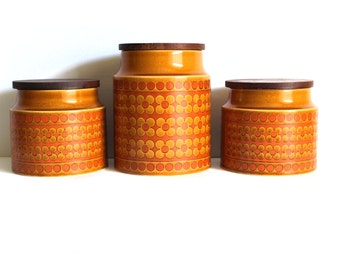 Vintage Hornsea Saffron Cannisters with Teak Lid - Blank Containers Jars Canisters Kitchen Storage - John Clappison - Made in England