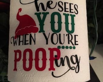 Christmas Toilet Paper, Christmas Gag Gift, Gag Gift, Toilet Paper Gift, Vinyl Toilet Paper