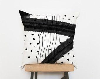 Minimalist pillow shams, black white home decor pillow case, 18 x 18, Throw pillows, Pillow covers, Decorative pillows, Designer pillows
