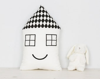Kids room cute house cushion in black and white, children's room decor