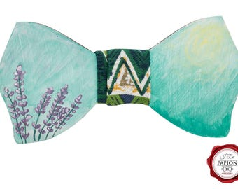 Painted Lavender Wood Bow Tie