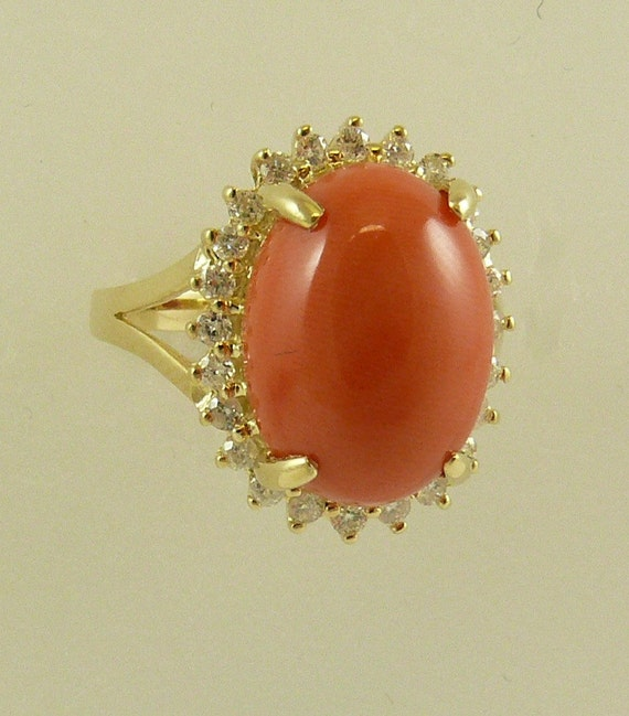 Coral 10 mm x 14 mm Ring 14k Yellow Gold and Diamonds 0.34ct, Size Selectable