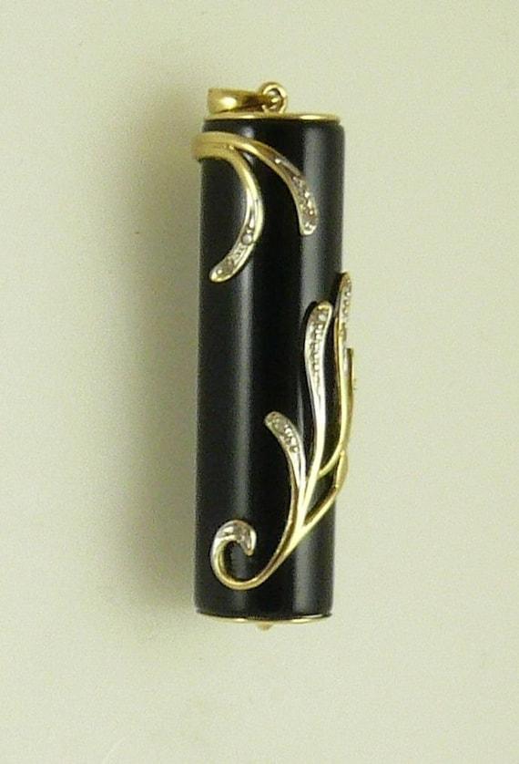 Onyx 10 mmx 35 mm Black Cylinder Pendant 14k Yellow Gold With Diamonds 0.05 ct