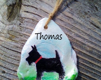 Hand Painted Seashell - Scottie Dog - Personalised