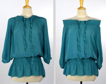 Elegant Off Shoulder Tunic Top, Shirring Elastic Blouse, Ruched Collar Tunic Top, Ruched Waist Top, Teal , One Size (Fits S to XL)