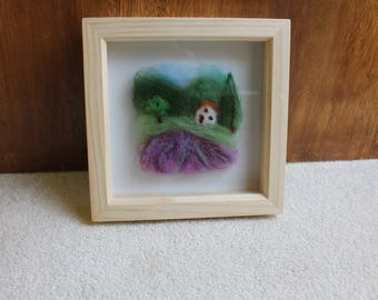 Fibre Art Picture Of A Lavender Field In Provence, France In A Square Deep Box WoodenFrame