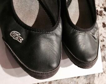 Black LACOSTE Ballet Flats Size 7-7.5