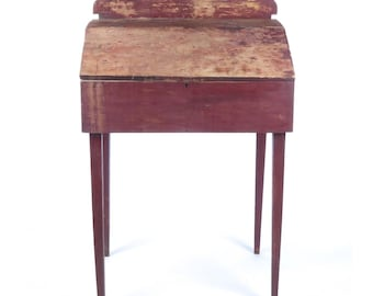 Antique standing desk tall lift top red paint primitive distressed square nails