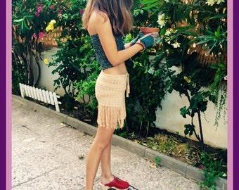 Crochet fringed skirt / Crochet skirt with fringes