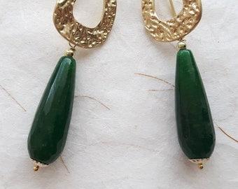 Green Jade earrings gemstone drops