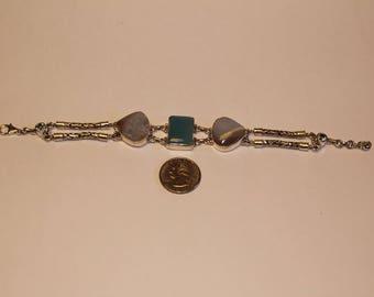 "Vintage sterling silver multi stone bracelet 8.5"" beak"