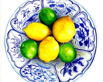 Blue and white china bowl with lemons and limes ready to hang art print