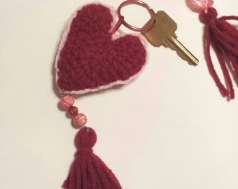 Crochet heart with tassel key chain, Beaded key chain, Love keychain, Heart keychain, keychain, Beaded tassel