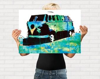 VW Kombi Art Print, Volkswagen Bus Art, Kombi Art, VW Bus Art, Volkswagen Kombi, Stencil Art Print, Beach Art, Surf Wall Art,  A4 A3 size
