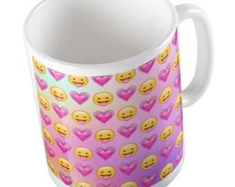 Emoji pink hearts stick out tongue mug