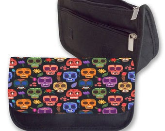 COLOURFUL SKULLS background pencil case / Make - up or Clutch bag. Can be personalised. Perfect for  Back To School.