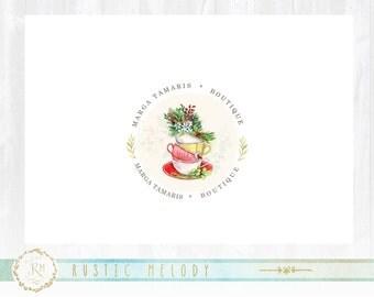 Tea Logo Design, Floral Logo, Shabby Chic Logo ,Events Logo, Floral Logo ,Photography Logo,Watercolor logo