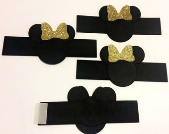 Gold bow Minnie Mouse/ Napkin Rings/ Minnie Mouse party decoration