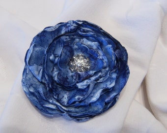 4 Inch Blue Fabric Flower Hair Clip, Blue Fabric Flower Hair Clip, Blue Satin Flower Hair Clip