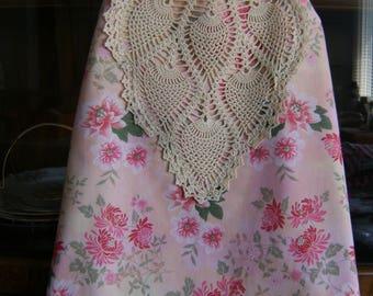Size 3/4 Girl's Wrap Dress, Pink Wrap Dress, Upcycled Wrap Dress, Upcycled Pineapple Doily Wrap Dress, Shabby Chic Girl's Dress Size 3/4