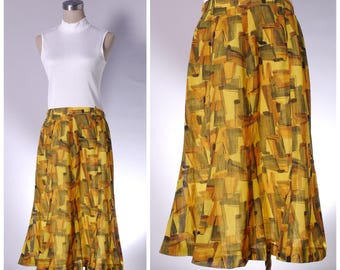 Vintage yellow A-line abstract print midi skirt